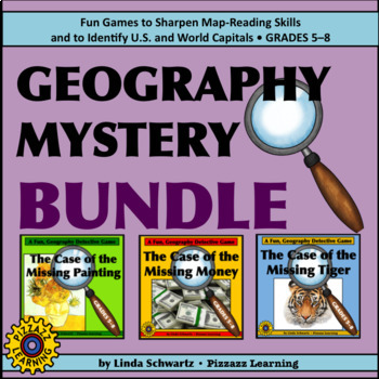 NEW! GEOGRAPHY MYSTERY BUNDLE • 3 GAMES OF STATE AND WORLD CAPITALS