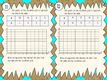 NEW! Generate and Graph Number Patterns Task Cards 5.4C