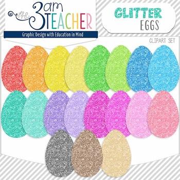 NEW Glitter Easter Eggs Clip Art Set!!
