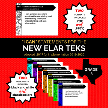 """NEW 3rd Grade ELAR TEKS """"I Can"""" Statements for 2019-2020 