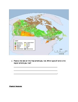 Map Of Canada Grade 2.New Grade 3 Social Studies Maps Of Canada And Physical Regions Resources