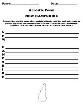 NEW HAMPSHIRE Acrostic Poem Worksheet