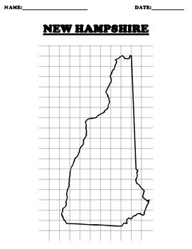 NEW HAMPSHIRE Coordinate Grid Map Blank