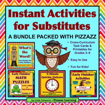 NEW! INSTANT ACTIVITIES FOR SUBSTITUTES BUNDLE • Grades 3–6