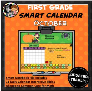 Interactive Calendar for SMART Board FIRST GRADE October-Themed