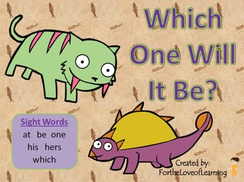 NEW! ** Interactive Sight Word Reader Kit 6 - Which One Will It Be?