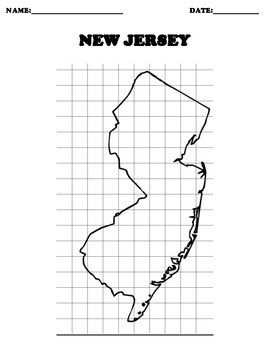 NEW JERSEY Coordinate Grid Map Blank