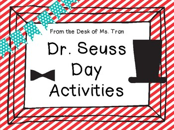 NEW  K-1 Dr. Seuss Activities Reading and Math Activities