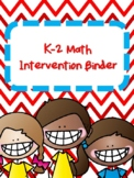 NEW  K-2 Math Intervention Binder (170+ pages) GREAT FOR SMALL GROUP!