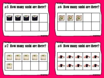 NEW  K-1 Math Sushi Fun (includes 72 Task Cards & Progress Monitoring)