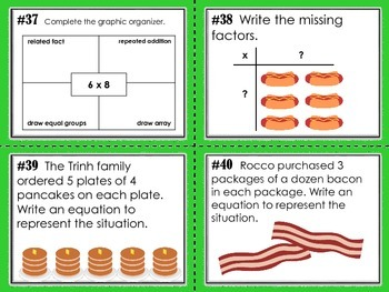 NEW  Kid-Approved Multiplication Task Cards Set of 60 (3.4D, 3.4E, 3.4F)