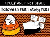 Kinder and First Grade Halloween Math Story Math Mats USE SMALL ERASERS!
