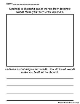 Character Ed Writing: Kindness (20 Sheets + Bonus Bracelets)