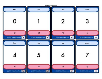 NEW Korean Language Flash Cards Set - numbers and counting set of 62+ cards