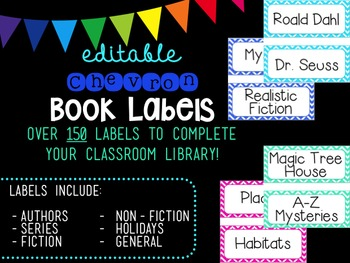 Large Editable Chevron Book Labels (Pastel Colors)