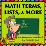 MATH TERMS, LISTS, & MORE • An Awesome Handbook  • Grades 3–6