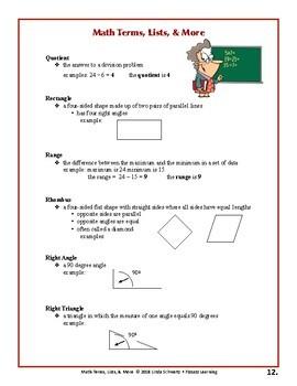 MATH TERMS, LISTS, & MORE • An Awesome Handbook  • Grades 3–6