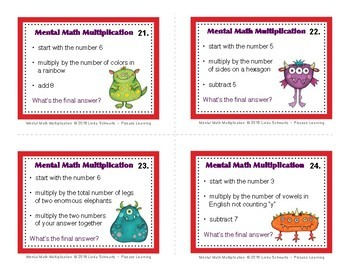MENTAL MATH MULTIPLICATION • GRADE 3 • EARLY FINISHER TASK CARDS
