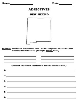 NEW MEXICO Adjectives Worksheet with Word Search