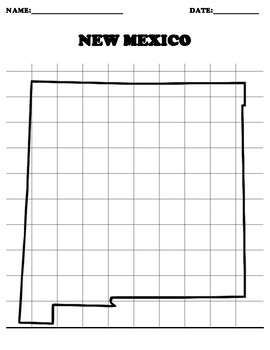 NEW MEXICO Coordinate Grid Map Blank