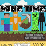 NEW! MINECRAFT Inspired Clipart, MINE TIME, mining clip art, mine, craft.