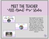 NEW Meet the Teacher-All About Me Slides