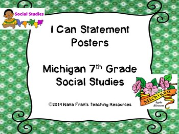NEW Michigan 7th Grade Social Studies I Can Statement Posters