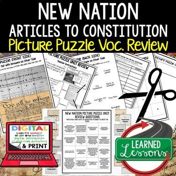NEW NATION Picture Puzzle Unit Review, Study Guide, Test Prep