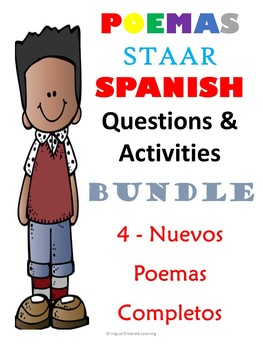 NEW NEW!! BUNDLE NO PREP NEEDED!  Four NEW Spanish Poems for the price of 3!