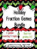 NEW! NO PREP! Holiday Themed Fraction Games Bundle Grades 3-5