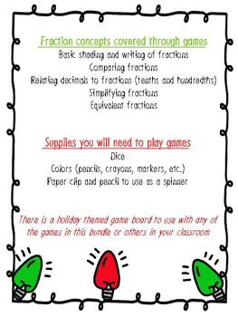 NEW! NO PREP! Holiday Themed Fraction Games Bundle Grades 3-5