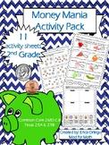 NEW NO PREP Second Grade Money Mania Activity Pack 2.5A, 2.5B, 2.MD.C.8