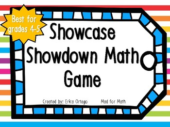 NEW! NO PREP Showcase Showdown Math Center, Game, Activity for 4th 5th graders