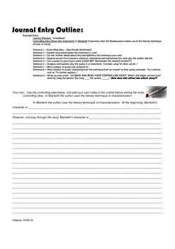 NYS COMPREHENSIVE ENGLISH REGENTS Style Journal Assignment for Macbeth