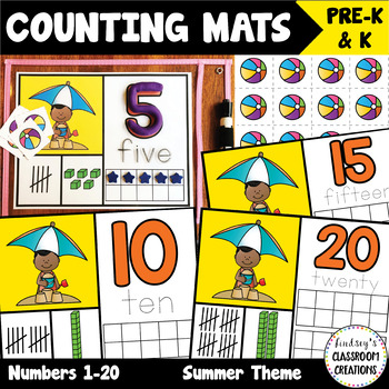 NEW! Number Mats Math Center - Counting 1-20 - Summer Theme