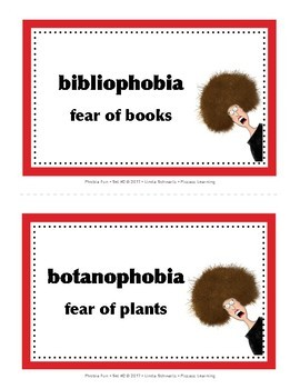 PHOBIA FUN • SET #2 • Vocabulary • BACK-TO-SCHOOL FUN!