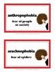 PHOBIA FUN • Set #1 • Vocabulary • BACK-TO-SCHOOL  FUN!