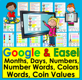 Google Classroom: Google Slides: Months, Days of Week, Colors, Numbers & Coins