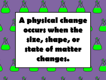 NEW  My Physical Change and Chemical Change Science Project NO PREP!