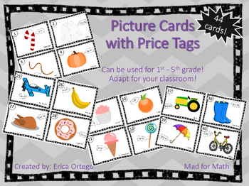 NEW! Picture Cards with Price Tags Grades 1-5 Adapt for yo