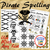 Pirate Spelling Menu Choice Board Printable Activity for Homework or Pirate Unit