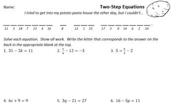 NEW Pre-Algebra Joke Worksheets (16 Worksheets)