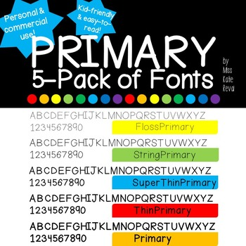 5 Primary Fonts - Personal and Commercial Use (Child-friendly!)