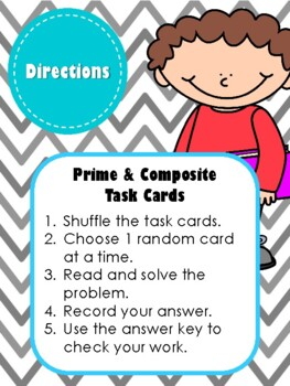 NEW  Prime and Composite Task Cards (Aligned to TEKS 5.4A & CC 4.OA.B.4)