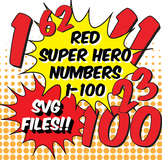 NEW!!! SVG Files! Numbers 1-100, Matches Superhero Alphabet, PDF, PNG, JPG, SVG