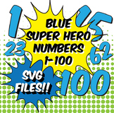 NEW!!! SVG Files! Numbers 1-100, Superhero Style in Blue, PDF, PNG, JPG, SVG