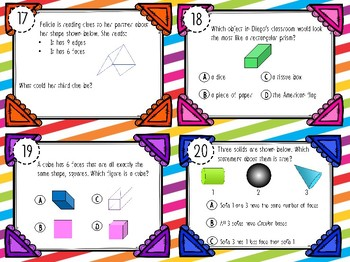 NEW! Second Grade Geometry Classify and Sort 3D Solids Task Cards 2.8B
