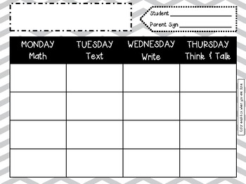 NEW Second Grade Monthly Homework HW with a purpose!