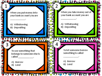 NEW Second Grade Personal Finance Task Cards 2.11A 2.11B 2.11C 2.11D 2.11E 2.11F