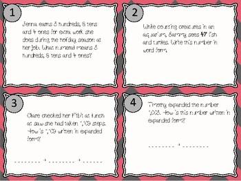NEW Second Grade Place Value Task Cards 2.2B, 2.NBT.A.1, 2.NBT.A.3